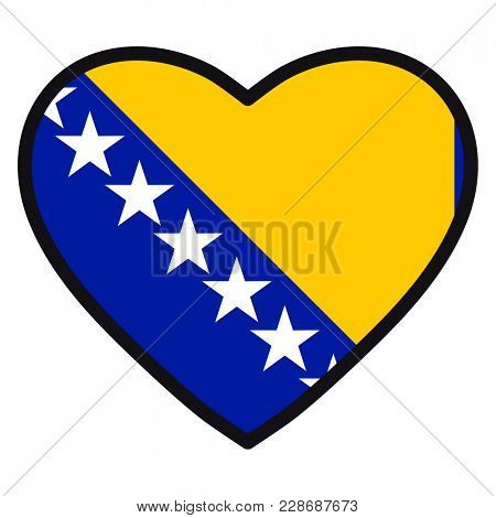 Flag of Bosnia Herzegovina in the shape of Heart with contrasting contour, symbol of love for his country, patriotism, icon for Independence Day.