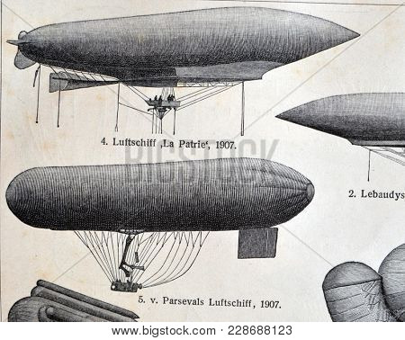 ILLUSTRATIVE EDITORIAL.Vintage illustration - AERONAUTICS. Meyers Kleines Lexikon. Edition 1908. February 22 2018 in Kiev,Ukraine