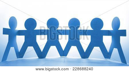 Team of paper chain people