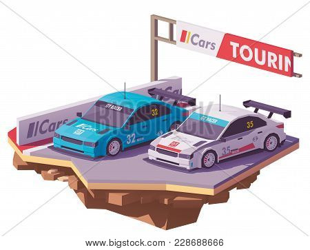 Vector Low Poly Touring Racing Car On The Race Track