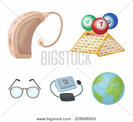 Lottery, Hearing Aid, Tonometer, Glasses.old Age Set Collection Icons In Cartoon Style Vector Symbol