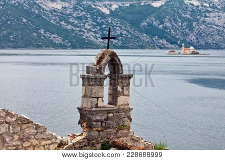 The old churchnear the sea in bad weather. Montenegro