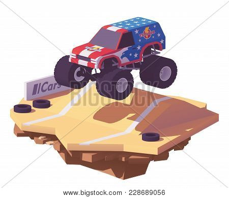 Vector Low Poly Monster Truck Performing Stunts On The Arena