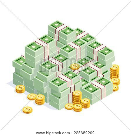 Pile Of Money Isolated On White Background. Isometric Money Is Stacked In A Big Pile. 3d Green Cash,