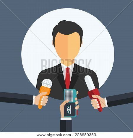 Businessman Giving An Interview In The Presence Of Journalists With Microphones And Recorder. Journa