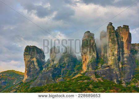 Landscape of rocks in Meteora, Greece