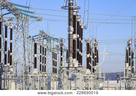 Power Switching Devices At A High-voltage Substation. Industrial Electrical Equipment. Power Supply