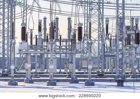 High-voltage Equipment At The Electrical Substation. Power Electric Station