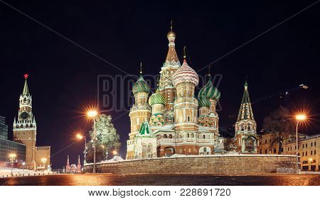 Moscow At Night. Kremlin Square. St. Basil's Cathedral On Red Square In Moscow. Night Illumination