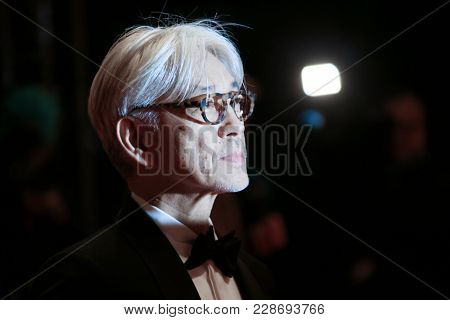 Ryuichi Sakamoto attends the closing ceremony during the 68th Berlinale International Film Festival Berlin at Berlinale Palast on February 24, 2018 in Berlin, Germany.