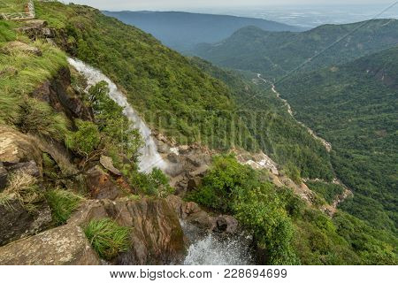 Seven Sisters waterfalls near the town of Cherrapunjee in Meghalaya, North-East India.