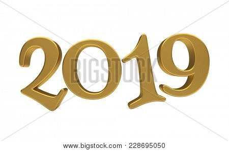 3d render: Happy New Year 2019, Golden 3D Numbers, New 2019 Year 3d Text on White Background, Greeting Card Design Template