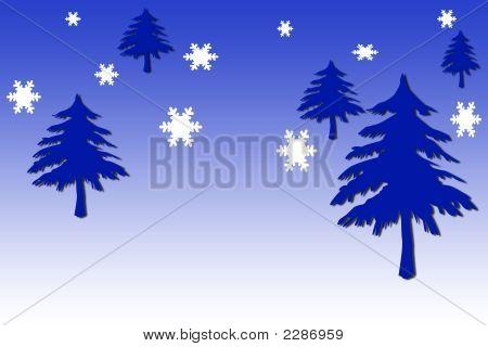 Blue Xmas Trees With Snow