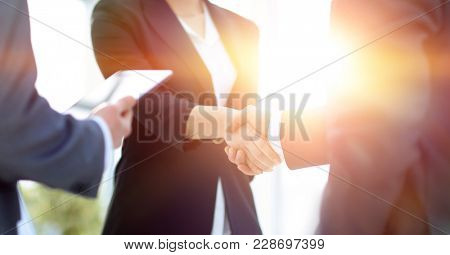 Businesswoman shaking hands with a businssman during a meeting