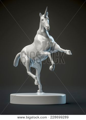 3d illustration of a beautyful ceramic unicorn figure
