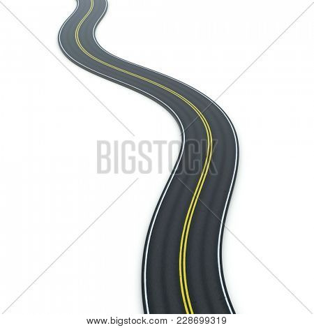 3d illustration of a winding road icon graphic