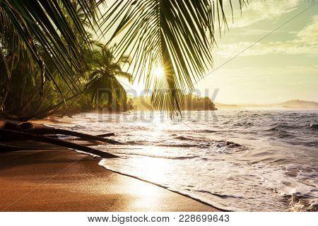Beautiful tropical Pacific Ocean coast in Costa Rica