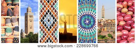 Set of vertical banners with famous places of Morocco. Koutoubia Mosque minaret in Marrakech, traditional moroccan mosaic wall, pickled olives on Moroccan market, lighthouse in Rabat, medina of Fez