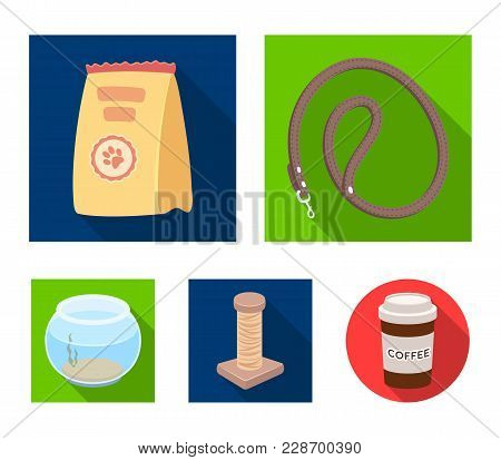 Leash, Feed And Other Zoo Store Products.pet Shop Set Collection Icons In Flat Style Vector Symbol S