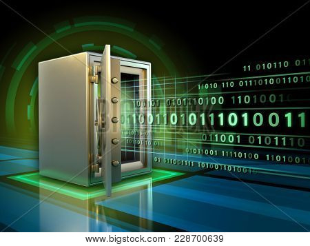 Stream of binary code entering a safe. 3D illustration.