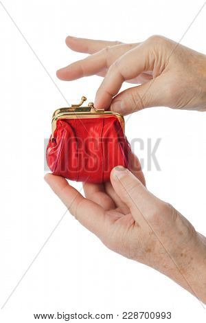 Hands of old man and purse isolated on white background