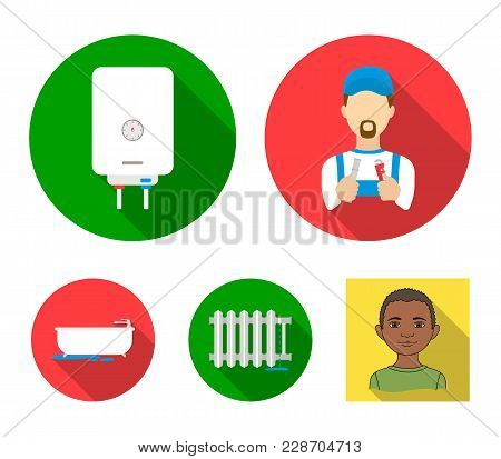 Plumber, Boiler And Other Equipment.plumbing Set Collection Icons In Flat Style Vector Symbol Stock