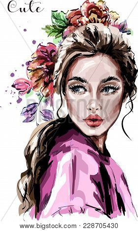 Hand Drawn Beautiful Young Woman Portrait. Fashion Woman. Cute Girl With Flowers. Sketch.