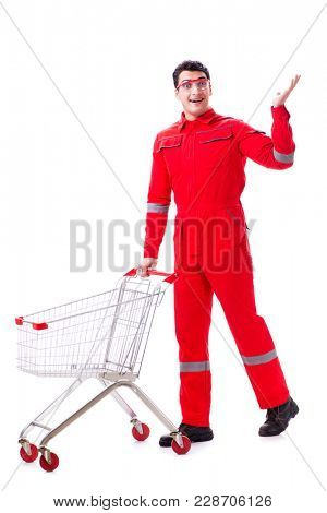 Repairman with shopping cart in industrial procurement concept