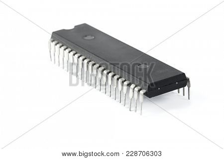 Computer chip isolated on white background
