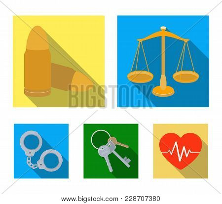 Scales Of Justice, Cartridges, A Bunch Of Keys, Handcuffs.prison Set Collection Icons In Flat Style