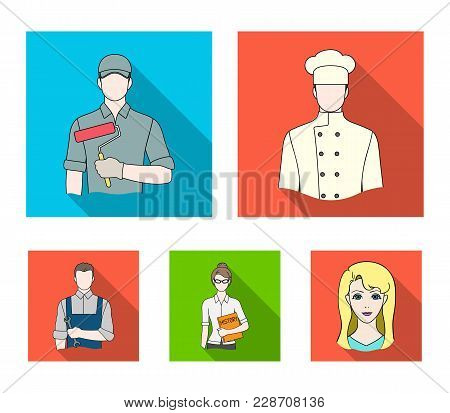Cook, Painter, Teacher, Locksmith Mechanic.profession Set Collection Icons In Flat Style Vector Symb