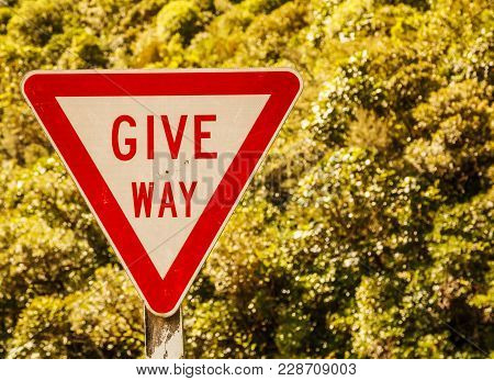 Give Way Triangular Shaped Street Traffic Sign On The Rural Road Area In The Nature Of New Zealand S
