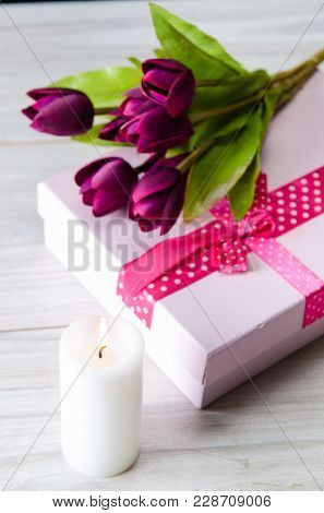 Giftbox arranged on the table in saint valentine holiday concept