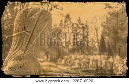 Portrait of Jesus Christ on a graveyard