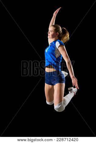 Young woman volleyball player isolated (without ball version)
