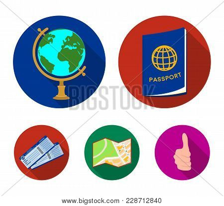 Vacation, Travel, Passport, Globe .rest And Travel Set Collection Icons In Flat Style Vector Symbol