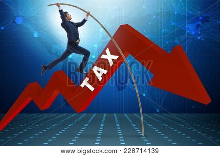 Businessman jumping over tax in tax evasion avoidance concept