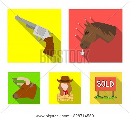 Head Of A Horse, A Bull's Head, A Revolver, A Cowboy Girl. Rodeo Set Collection Icons In Flat Style
