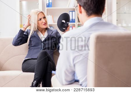 Young woman visiting psychiatrist man doctor for consultation