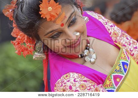 Young Girl In Spring Festive Make Up.