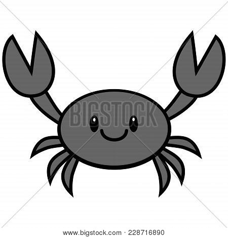 Kawaii Crab Illustration - A Vector Cartoon Illustration Of A Cute Kawaii Crab.