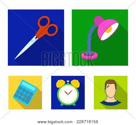 Table Lamp, Scissors, Alarm Clock, Calculator. School And Education Set Collection Icons In Flat Sty