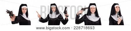 Aiming young nun with gun isolated on white