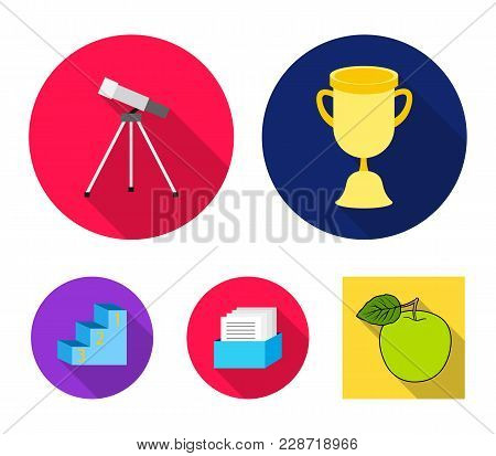 Cup, Prize, Telescope, Catalog In A Box And Pedestal Of Honor. School Set Collection Icons In Flat S