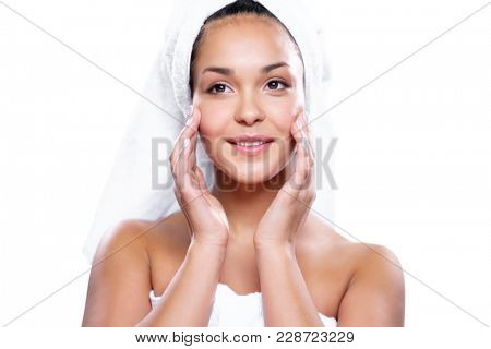 Smooth face skin of a young woman