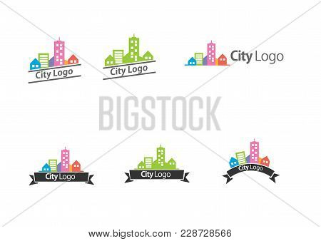Real Estate Logo, City Or Buildings Logo Flat Vector