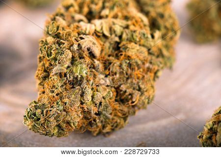 Macro detail of cannabis bud (day dreamer strain) with visible trichomes - medical marijuana dispensary concept