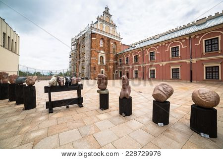 LUBLIN, POLAND - JULY 13, 2013: Courtyard of royal castle in the city center of Lublin, Poland. Lublin is the largest Polish city east of the Vistula River with historic architecture.