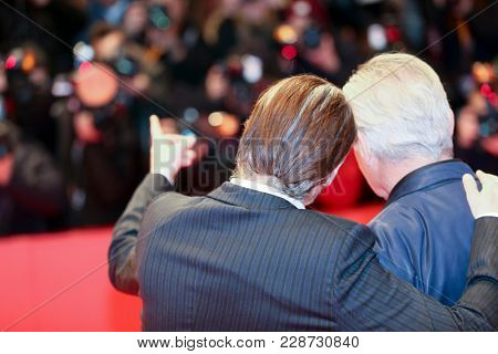 Joaquin Phoenix, Udo Kier attend the 'Don't Worry, He Won't Get Far on Foot' premiere during the 68th  Film Festival Berlin at Palast on February 20, 2018 in Berlin, Germany