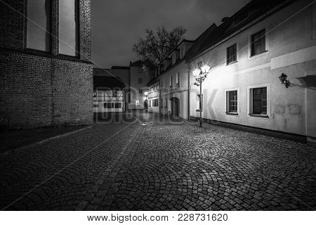 Senftenberg, Germany - February 08, 2018: Night Streets Of The Old Town. The Ancient City Of Senften
